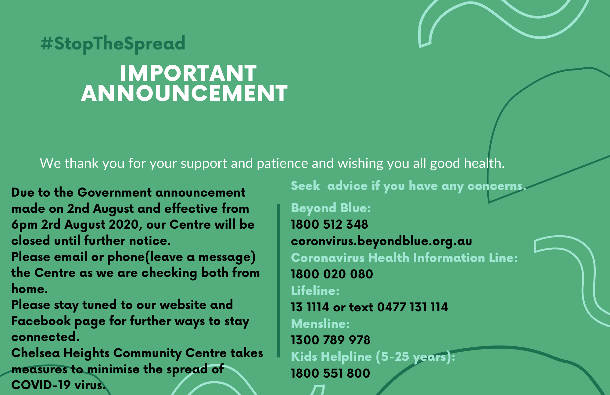 Green and White Stop The Spread Landscape COVID Flyer 2